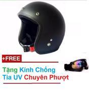 Mũ bảo hiểm 3/4 đầu dành cho phượt thủ + Tặng 1 kính chống tia UV màu bất kì(Đen)