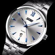 Đồng hồ nam dây kim loại cao cấp SKMEI 9071 (Trắng kim xanh) + Tặng kèm vòng tay phong thủy