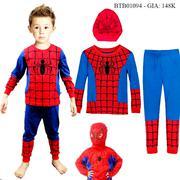 Bộ dài tay thu đông kèm mũ trùm người nhện dễ thương cho bé trai 1 - 10 Tuổi BTB01094