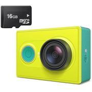 Bộ Máy quay phim thể thao XiaomiYi Camera 16MP Full HD 1080P (Vàng) + Thẻ nhớ 16GB