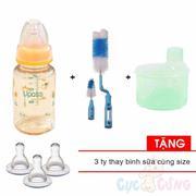 Combo Bình sữa UPASS cổ thường 120ml PES - Cam + 1 cọ rửa bình sữa và núm ty + 1 hộp chia sữa 3 ngăn...