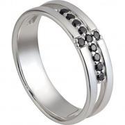 Nhẫn bạc nam PNJSilver đính đá màu đen