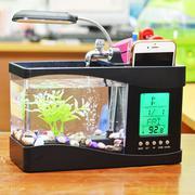 Bể cá mini để bàn có đèn Led, ống cắm bút tiện ích