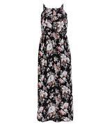 Đầm maxi hoa nữ tính - Đen