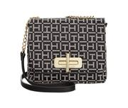 Tommy Hilfiger Abby Monogram Jacquard Small Flap Crossbody (Black/White)
