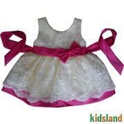 Đầm voan trắng nơ hồng - AD129
