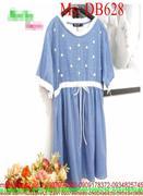 Đầm bầu ngắn tay denin mềm phối viền trắng sành điệu DB628