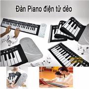Đàn piano điện tử bàn phím cuộn dẻo 49 keys (Trắng) Hàng Nhập Khẩu )+ Tặng máy mát xa cá heo