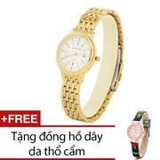 Đồng Hồ Nữ Dây Kim Loại (Vàng) + Tặng Kèm 1 Đồng Hồ Dây Da Thổ Cẩm