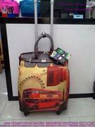 Túi xách du lịch cần kéo họa tiết xe bus 2 tầng sành điệu TDLK33