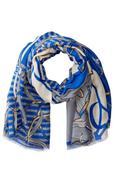 Khăn choàng mỏng nữ La Fiorentina Women's Stripe and Chain Fringe Scarf (Mỹ)