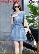 Đầm jean nữ xòe phối đính hạt sành điệu và thời trang DJE58