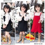 Set áo bẹt vai váy yếm tiểu thư dễ thương cho bé gái 1 - 8 tuổi BGB117118