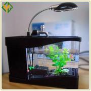 Bể cá phong thủy mini (Đen) đa năng để bàn cắm nguồn usb