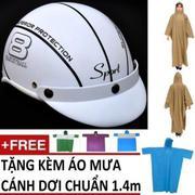 Bộ Nón Bảo Hiểm thời trang (Mode: Haly nữa đầu) + 1 áo mưa cánh dơi 1.4m màu ngẫu nhiên (Xanh Lam)