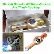 Micro Hát karaoke cầm tay kiêm loa Bluetooth M8 - Có Đèn LED Sân Khấu (Trắng) + Tặng Đèn LED USB - H...
