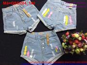 Quần short jean nữ phối 4 nút sơn 3 sọc màu nổi bật QSO284