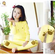 Bộ thun cotton dài tay mặc nhà in gấu dễ thương cho bé gái 1 - 8 tuổi BGB117172