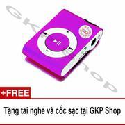 Máy nghe nhạc MP3 hỗ trợ thẻ nhớ - Tím, Tặng tai nghe và cốc sạc