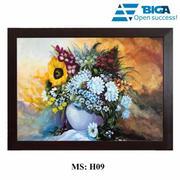 Tranh Sơn Dầu Decor Việt Chủ Đề Sắc hoa rực rỡ (70x50cm - Tặng khung Gỗ Thái cao cấp) US04602