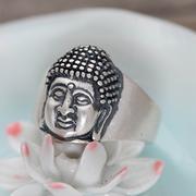 Nhẫn bạc nam Phật A Di Đà bạc nam size 9 handmade Hadosa