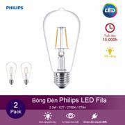 (Bộ 2) Bóng đèn Philips LED Fila 2.3W 2700K đuôi E27 ST64 - Ánh sáng vàng