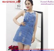 Váy yếm jean nữ phối túi trẻ trung QYB256