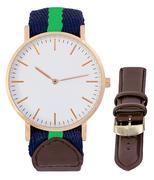 Đồng hồ Timeseller dây da thời trang + Tặng kèm dây vải - Xanh