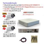 Bộ 1 đầu ghi hình 4 kênh FULL HD Hikvision DS-7104HQHI-F1/N + 2 Camera thân FULL HD 2 Megapixel hồng...