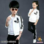 Set áo khoác kèm quần thun da cá in logo adidas dễ thương cho bé 1 -  8 tuổi BTB15189