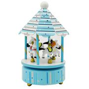 Wooden Carousel Horses Rotating Music Musical Box with Castle in the Sky Melody Home Decoration Kid ...