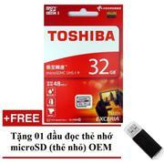 Thẻ nhớ MicroSDHC Toshiba Exceria 32GB Class 10 48MB/s New Box (Trắng Đỏ) + Tặng 01 đầu đọc thẻ nhớ ...