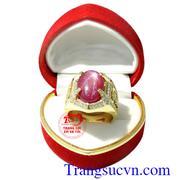 Nhẫn nam ruby sao vàng rồng 18k