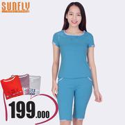 Bộ lửng mặc nhà phối viền họa tiết Sunfly (Xanh hoàng hôn) SP1329