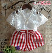 BG126 Bộ áo trắng hở vai và quần short kẻ sọc gắn nơ cho bé gái 2.5-6t, sz 7-15