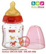 Bình sữa thủy tinh cổ rộng Nuk 120 ml núm cao su không BPA