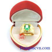 Nhẫn nam đá xanh vàng tây 10k