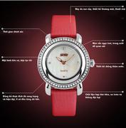 Đồng hồ nữ thời trang mặt gắn đá Skmei 35mm (Đỏ)