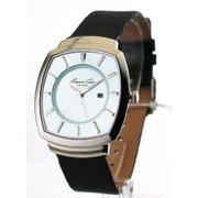 MENS KENNETH COLE LEATHER ULTRA THIN DATE WATCH KC1198