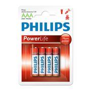 Vỉ 4 viên pin AAA Alkaline Philips LR03P4B/97 1,5V (Đỏ)