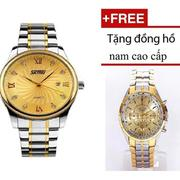 Đồng hồ nam Skmei SK063 Sang Trọng ( mặt vàng ) + Tặng đồng hồ nam cao cấp