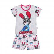 Bộ quần áo cotton cộc tay Lei in thỏ ngộ nghĩnh
