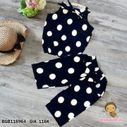 Bộ cát hàn áo cổ yếm thắt nơ quần lưng thun đính nơ bi dễ thương cho bé gái 1 - 8 tuổi BGB116964