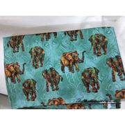 Vải thô voi thổ cẩm nền xanh biển