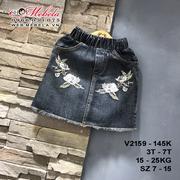 V2159 - Chân váy jean thêu hoa bé gái 3 - 7 tuổi, 15 - 25kg, sz 7 - 15