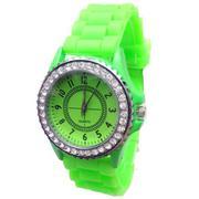 New Geneva Silicone Golden Quartz Men/Boy/Lady/Women/Girl Jelly Wrist Watch Grass Green (Intl)