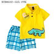 Bộ Zara thêu đắp cá sấu quần vải ca rô dễ thương cho bé trai 1 - 8 Tuổi BTB06102