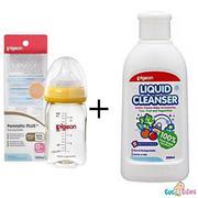 Combo Bình sữa Pigeon nhựa PPSU Plus cổ rộng 160ml + Nước rửa bình sữa chai Pigeon 450ml + Cọ rửa bì...