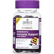Zarbee's Naturals Children's Elderberry Immune Support* Gummies with Vitamin C, Zinc, Natural Berry ...