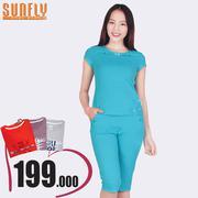 Bộ lửng mặc nhà cổ áo đính nơ Sunfly (Xanh ngọc) SP1315